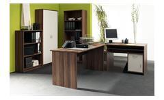 Aktenschrank Büroschrank Mehrzweckschrank Office Compact Walnuss und weiß