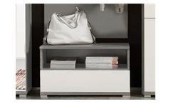 Flurbank ROY Titan grau und MDF weiß hochglänzend