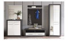 Garderoben-Set KOLIBRI grau und weiß Hochglanz MDF 5-tlg