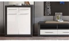 Garderobe Komplettset 5tlg Flurmöbel Dielenmöbel Kolibri grau MDF weiß Hochglanz