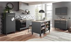Küchenzeile Küchenblock Einbauküche Küche Bilberry anthrazit Eiche Sonoma 4-tlg