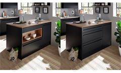 Kücheninsel JAMESY Küchenblock schwarz matt und Eiche