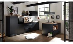 Kücheninsel Küchenschrank Insel Küche Jamesy schwarz matt und Eiche 145x90 cm