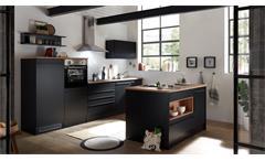 Inselküche Küchenzeile Küchenblock Küche Jamesy 4 schwarz matt und Eiche 320 cm