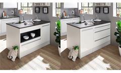 Kücheninsel JAMESY Küchenblock weiß Hochglanz stone dark