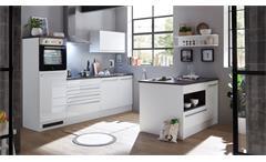 Kücheninsel Küchenschrank Insel Küche Jamesy weiß Hochglanz stone dark 145x90 cm