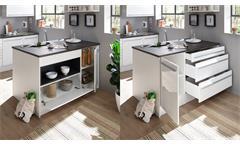 Inselküche Küchenzeile Küchenblock Küche Jamesy 6 weiß Hochglanz stone dark 260