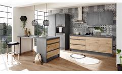 Inselküche TANN Küchenblock Chromix anthrazit Artisan Eiche