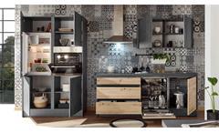 Inselküche Küchenzeile Küchenblock Küche Tann Chromix anthrazit Artisan Eiche