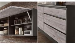 Küche Küchenzeile Lessy Ribbeck Eiche anthrazit inkl. Geräte ohne Geschirrspüler