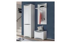 Garderobe Flurmöbel Dielenmöbel Vito Vaso Set 3-teilig weiß Hochglanz und grau