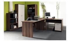 Büro OFFICE COMPACT Komplettset Walnuss und weiß 5-teilig