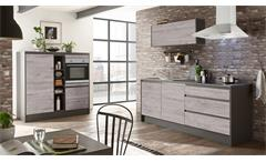 Küche LESSY Eiche anthrazit inkl. Geräte mit Geschirrspüler