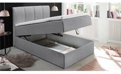 Doppelbett Granada 2 Polsterbett in grau inkl. Bettkasten und Topper 140x200 cm