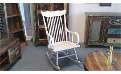 Schaukelstuhl Vintage weiß Vollholz Stuhl klassisches Design