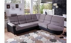 Ecksofa Pisa Wohnlandschaft Sofa in grau schwarz mit Bettfunktion Relaxfunktion
