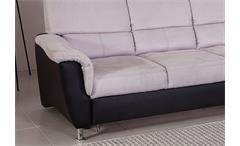 Ecksofa Pisa Eckgarnitur L-Sofa grau schwarz Federkern Bettfunktion Kopfstützen
