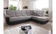 Ecksofa Pisa Eckgarnitur L-Sofa grau schwarz Federkern Bettfunktion Bettkasten