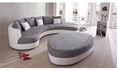 Wohnlandschaft Rundecke Kuschelecke Lounge Sofa weiß grau Limoncello