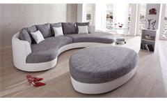 Hocker zu Rundecke Lounge Sitzhocker Polsterhocker oval weiß grau Limoncello