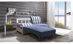 Schlafsofa Kampus Sofa Funktionssofa 2-Sitzer Stoff blau weiß Liegefunktion 154