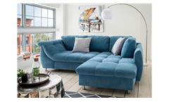 Ecksofa Agira L-Sofa Denim Jeans Stoff blau mit Schlaffunktion Kissen 250x190 cm