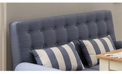 2er Küchensofa Scalea 2-Sitzer Sofa Stoff blau weiß Federkern mit Kissen 147 cm