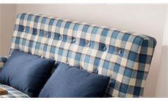 2er Küchensofa Scalea 2-Sitzer Sofa Stoff blau kariert Federkern inkl. Kissen