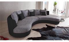 Wohnlandschaft Rundecke Kuschelecke Lounge Sofa schwarz grau Limoncello