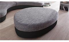Hocker zu Rundecke Lounge Sitzhocker Polsterhocker oval schwarz grau Limoncello