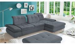 Ecksofa Arezza L-Sofa in anthrazit Sitztiefenverstellung und Schlaffunktion 324x190