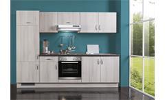 Küchenzeile AVANT 1 in Akazie Glitterstone Schwarz links inkl. Geräte