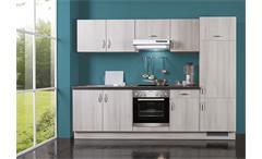 Küchenzeile AVANT II in Akazie/Schwarz/Rechts inkl. E-Geräte