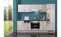 Küchenzeile AVANT III Akazie schwarz rechts inkl. E-Geräte