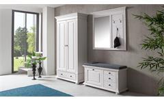 Garderoben-Set 1 Leona Garderobe Flurmöbel Astfichte massiv natur weiß lasiert