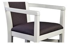 Armlehnstuhl Leona Polsterstuhl Stuhl Astfichte massiv natur weiß lasiert braun