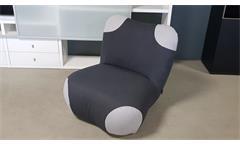 Sessel mit Hocker Pandabär ROLF BENZ freistil 171 schwarzgrau