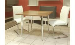 Esstisch Freistil 190 von Rolf Benz Tisch in Nussbaum mit Füßen in Chrom 92 cm