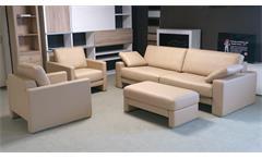 ROLF BENZ Sitzgruppe EGO Echtleder beige Sofa 2 Sessel und Hocker