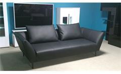 Sofa Freistil 176 ROLF BENZ Sofabank Leder schwarz mit 2 Kissen