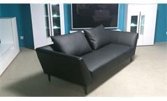 Sofa Rolf Benz Freistil 176 Sofabank in Leder schwarz mit 2 Kissen Breite 220 cm