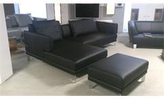 Ecksofa Sento 433 ROLF BENZ Sofa mit Recamiere links Leder schwarz mit Hocker