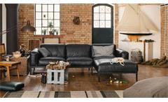 Ecksofa Leder schwarz Longchair links Sofa Freistil 167 ROLF BENZ