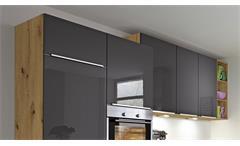 Küche Winkelküche L-Küche Susann dunkelgrau Hochglanz und Eiche natur 300x270 cm