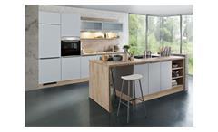 Inselküche ELLA Küche grau seidenmatt und grain hell 300 cm