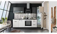 Küche Einbauküche Küchenzeile Susann weiß Hochglanz schwarz mit E-Geräten 280 cm
