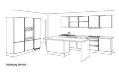 Küche Inselküche Einbauküche Susann weiß silk Hochglanz Eiche natur mit Geräten