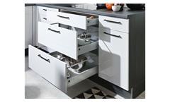 U Küche Einbauküche Küchenzeile Susann grau Hochglanz und schwarz mit E-Geräten