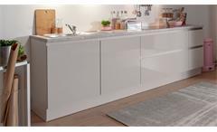 Küche Einbauküche Küchenzeile Susann beige grau Hochglanz stone mit E-Geräten