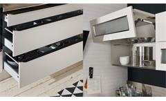 Küche Winkelküche L-Küche Einbauküche Ella sand beige seidenmatt mit Geräten